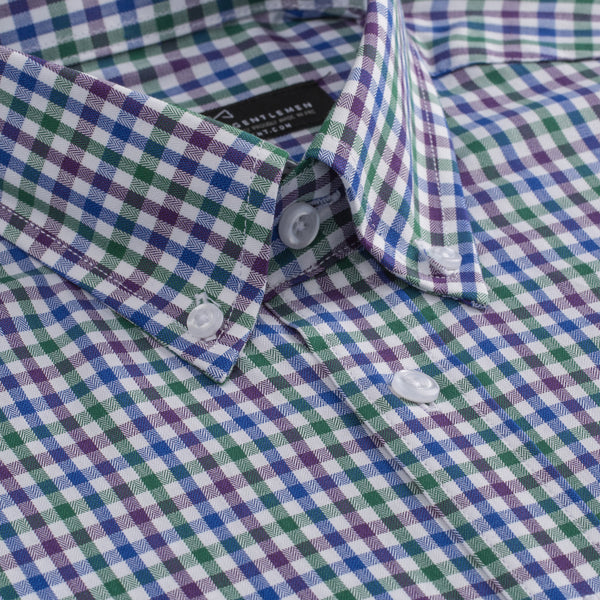 Purple Green and Blue Gingham Athletic Fit Button-Down Collar Shirt