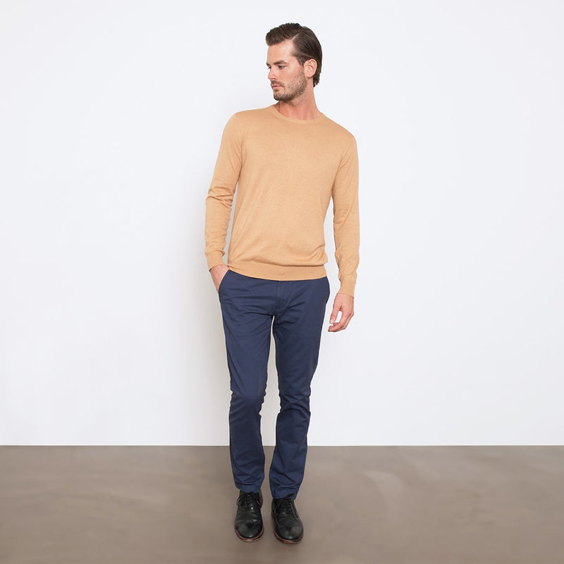 Camel Slim Fit Crew Neck Knit Sweater
