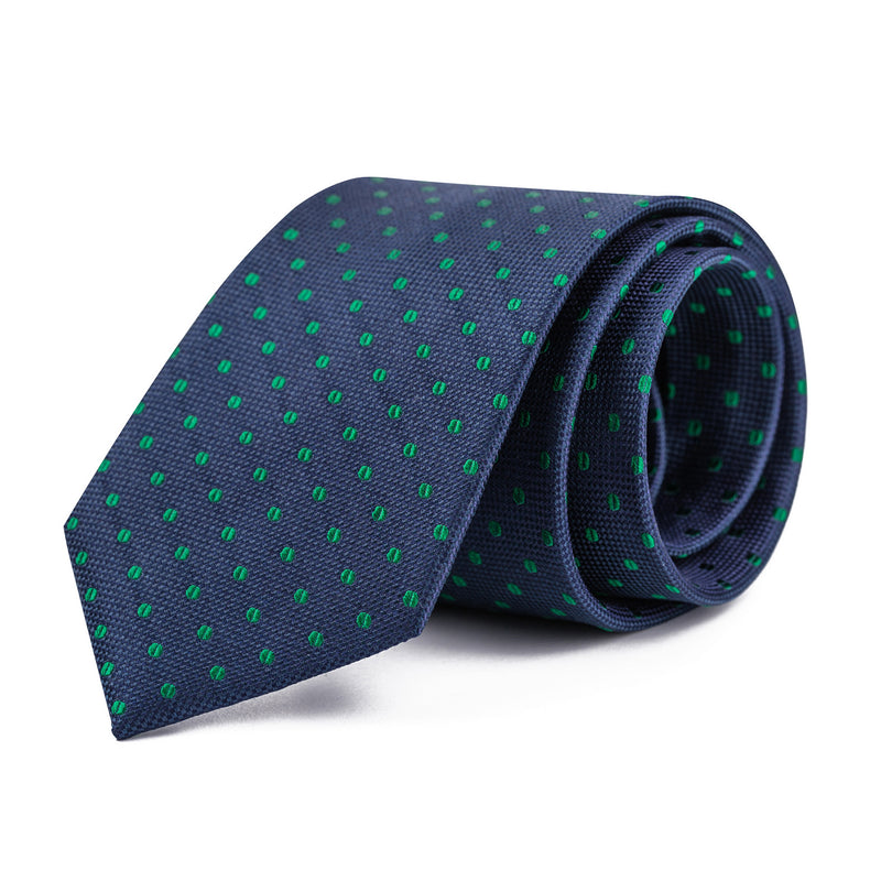Green and Navy Polka Dot Tie