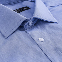 Light Blue Nailhead Athletic Fit Wide Spread Collar Shirt
