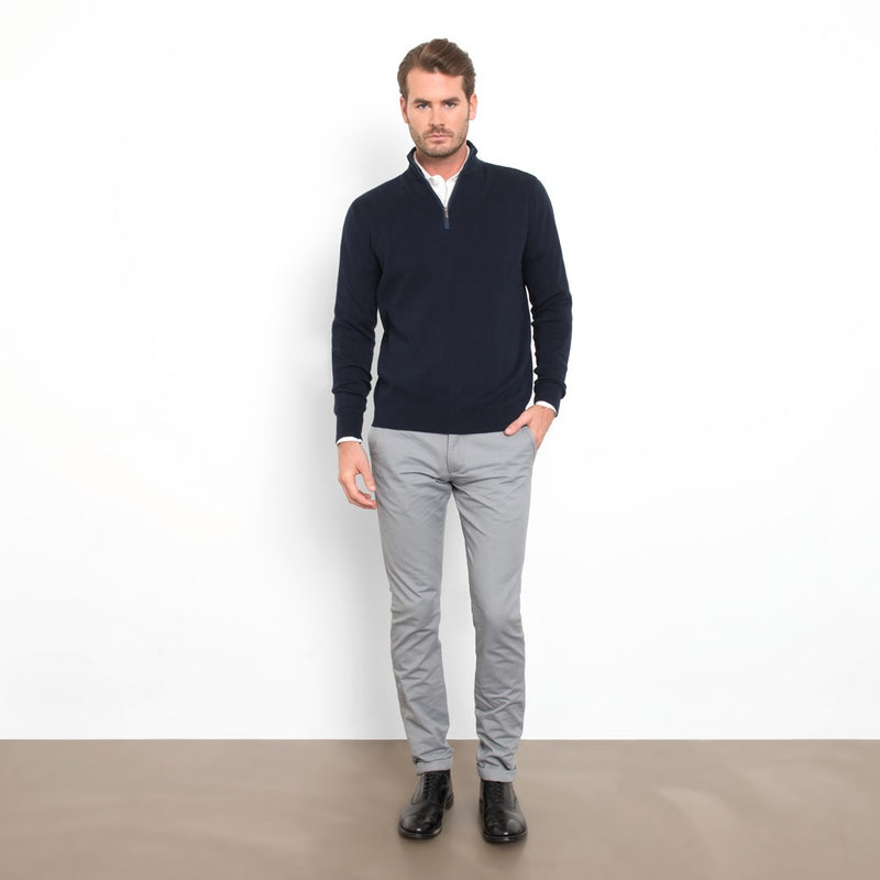 Navy Slim Fit Half Zip Knit Sweater