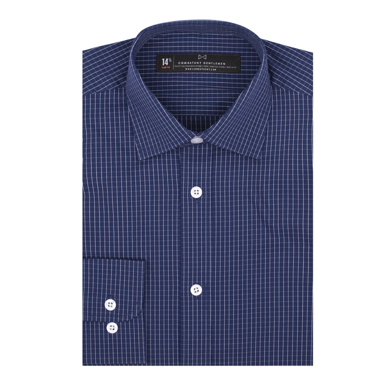 Navy Grid Stretch Athletic Fit Wide Spread Collar Shirt