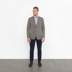 Sage Green Cotton Twill Slim Fit Travel Jacket