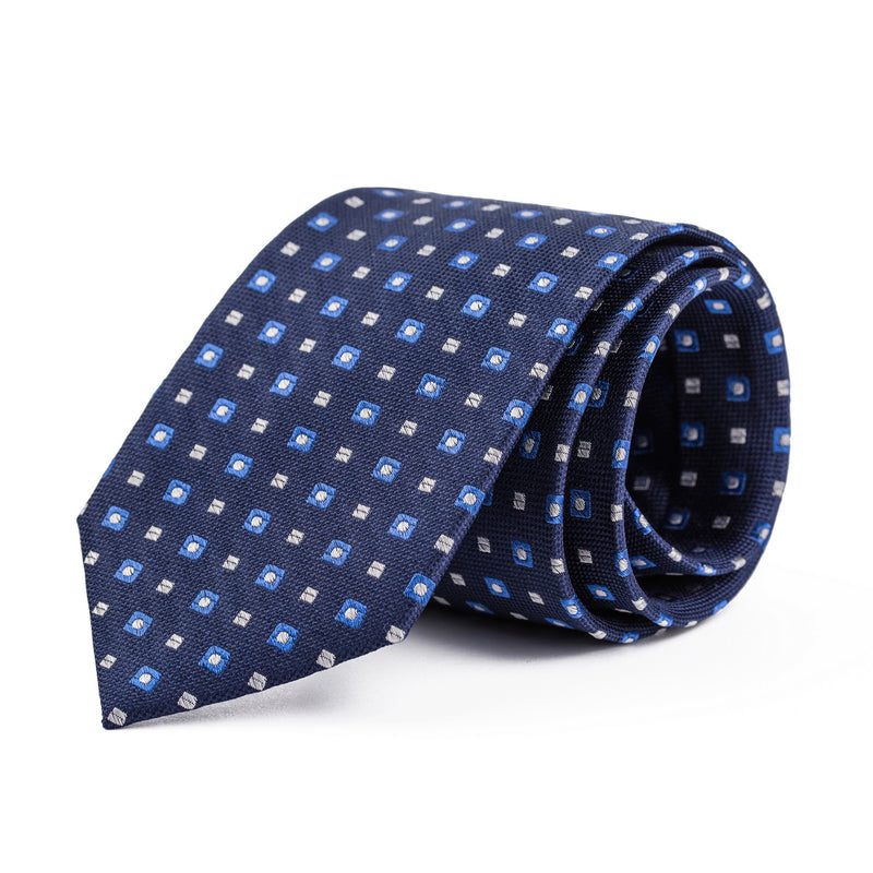 Navy and Light Blue Geometric Tie