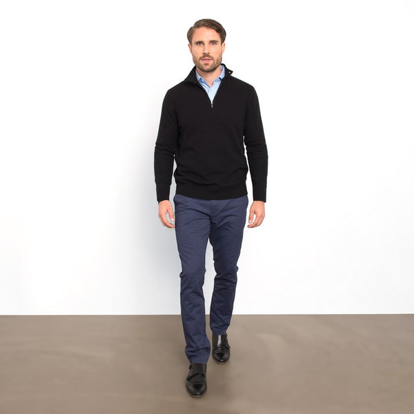 Black Slim Fit Half Zip Button Collar Knit Sweater