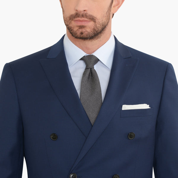 Blue Double Breasted Slim Fit Suit