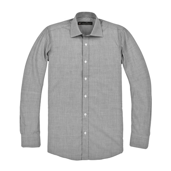 Grey Mini Nailhead Slim Fit Wide Spread Collar Shirt