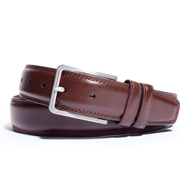 Bourbon Rounded Buckle Leather Belt