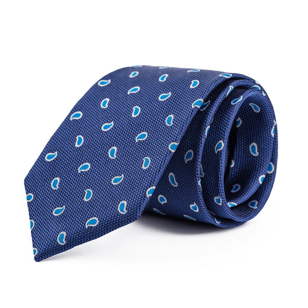 Navy and Light Blue Mini Paisley Tie