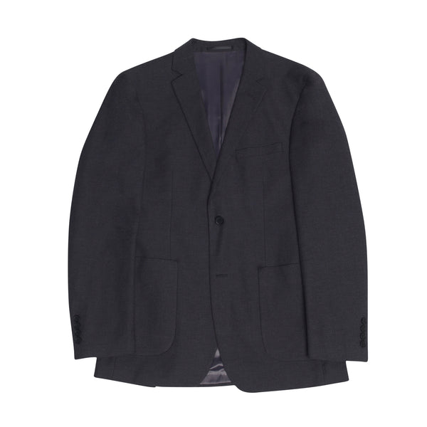 Slate Grey Cotton Twill Slim Fit Suit Jacket