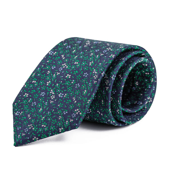 Navy and Green Mini Floral Tie