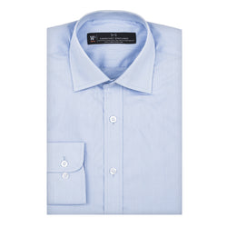 Light Blue Tonal Check Slim Fit Wide Spread Collar Shirt