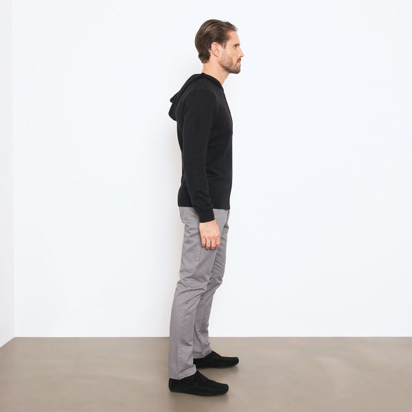 Black Slim Fit Hoodie Knit Sweater