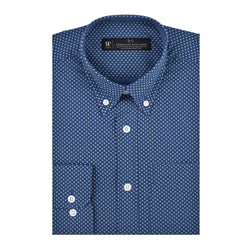 Slate Blue White Diamond Print Slim Fit Button-Down Collar Shirt