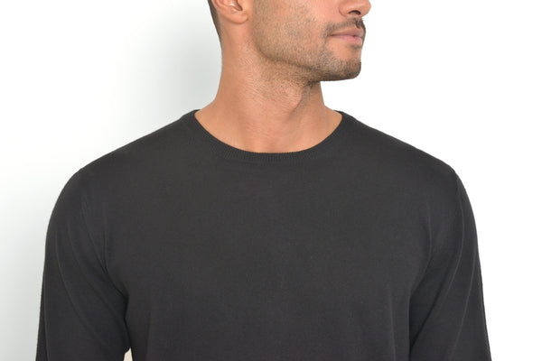 Black Crew Neck Cotton-Cashmere Sweater