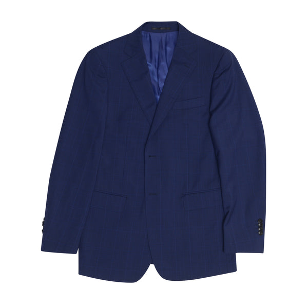 Deep Blue Glenplaid Tailored Fit Suit Jacket