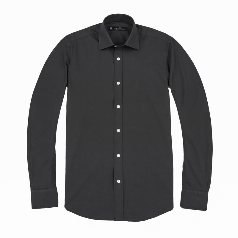 Charcoal French Oxford Slim Fit Wide Spread Collar Shirt