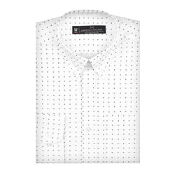 White Patterned Stretch Slim Fit Button-Down Collar Shirt