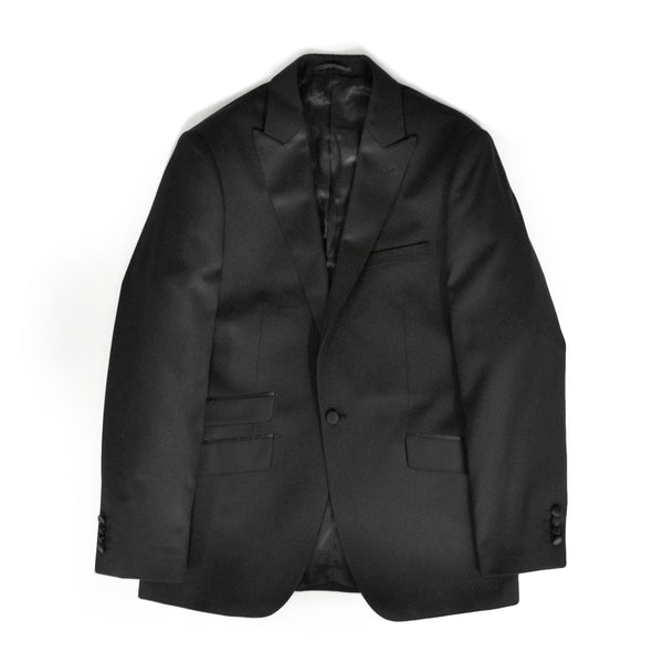 Black Slim Fit Peak 1 Button Tuxedo Jacket