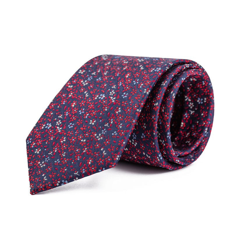 Navy and Red Mini Floral Tie