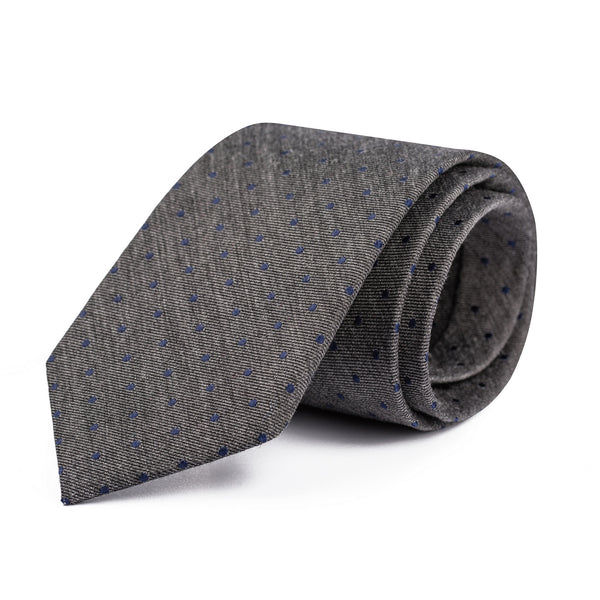 Navy and Grey Polka Dot Tie
