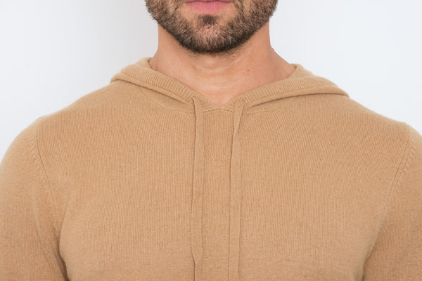 Camel Slim Fit Hoodie Knit Sweater