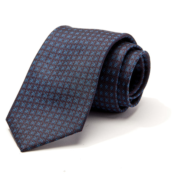 Blue and Burgundy Geometric Tie