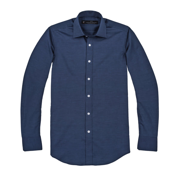 Navy Twill Slim Fit Wide Spread Collar Shirt