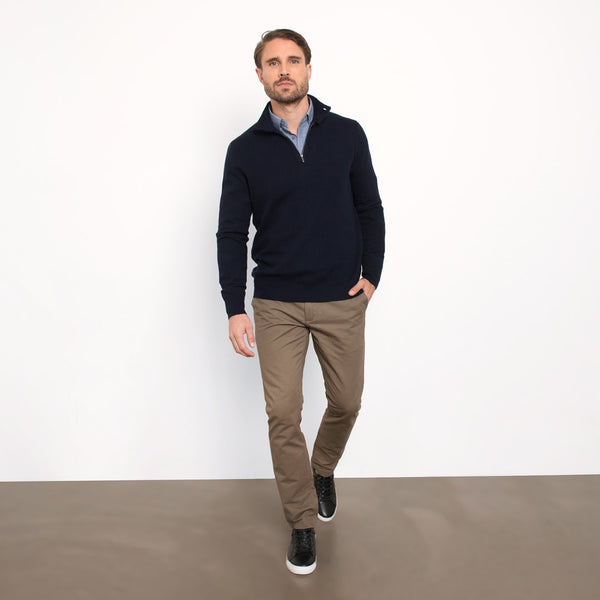 Navy Slim Fit Half Zip Button Collar Knit Sweater