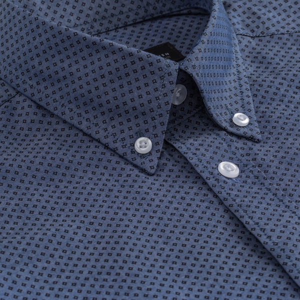 Blue & Black Diamond Print Slim Fit Button-Down Collar Shirt