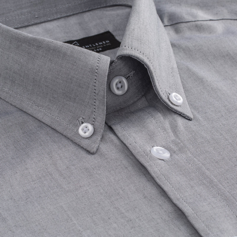 Grey Oxford Slim Fit Button-Down Collar Shirt