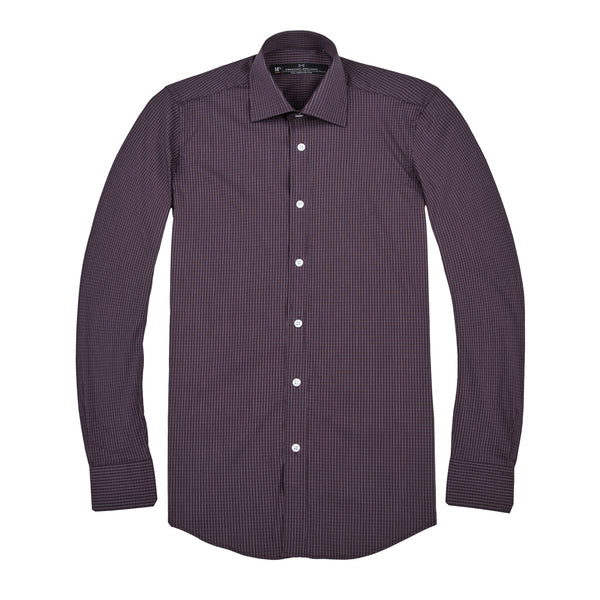 Burgundy Grid Stretch Slim Fit Wide Spread Collar Shirt