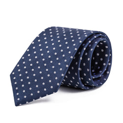 Silver and Navy Polka Dot Tie