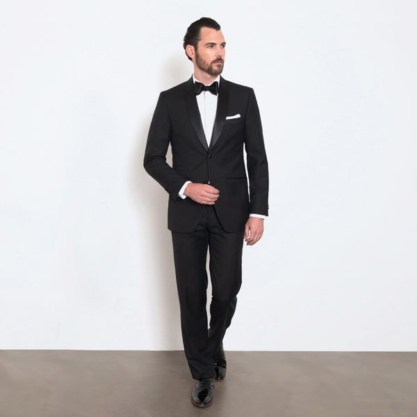 Black Slim Fit Shawl Collar Tuxedo