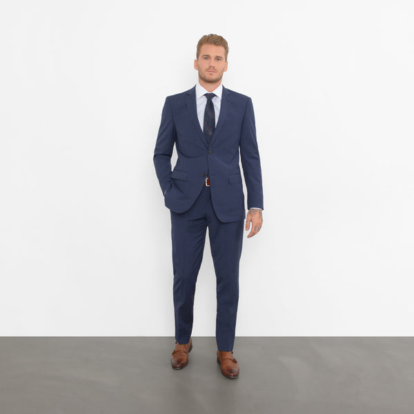 Dark Navy Microcheck Slim Fit Suit