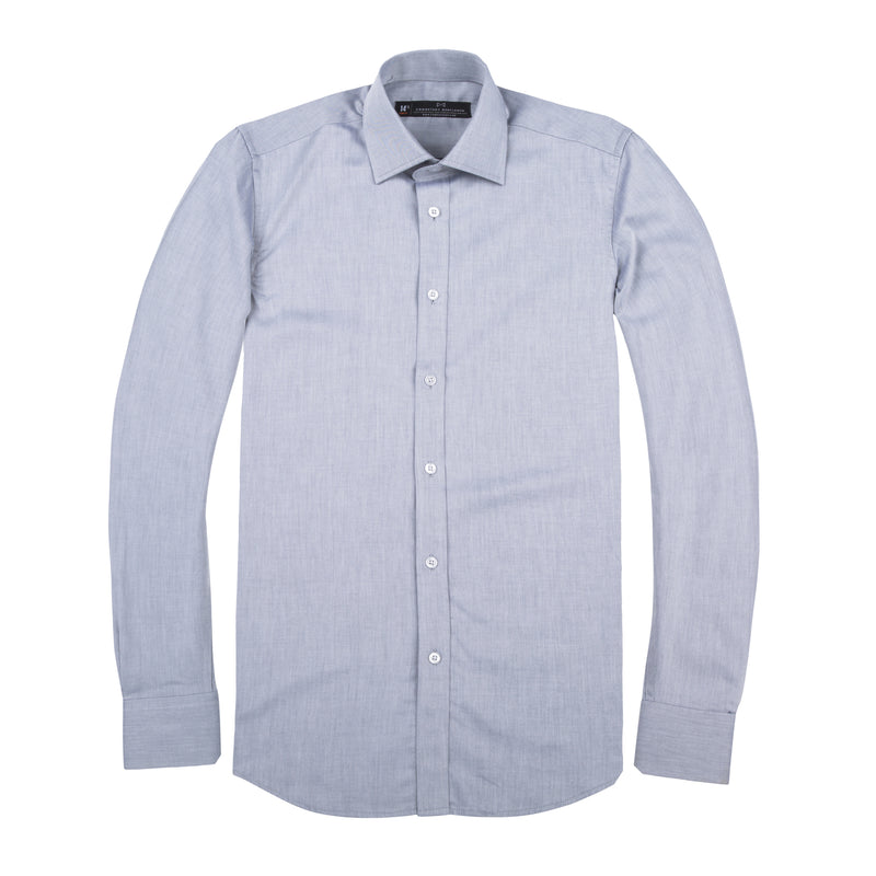 Light Grey Twill Slim Fit Wide Spread Collar Shirt