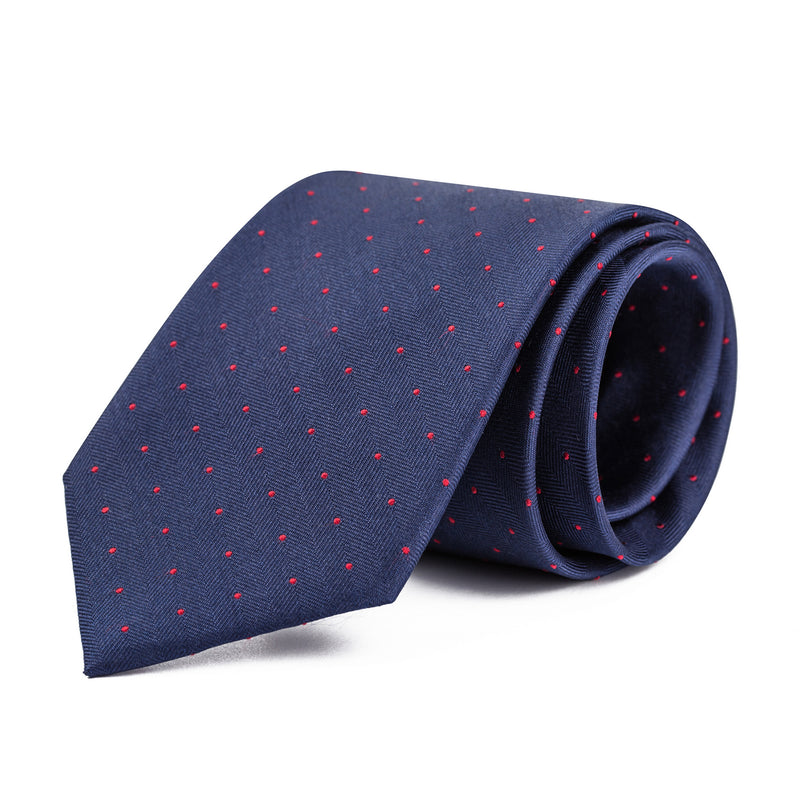 Navy and Red Mini Polka Dot Tie