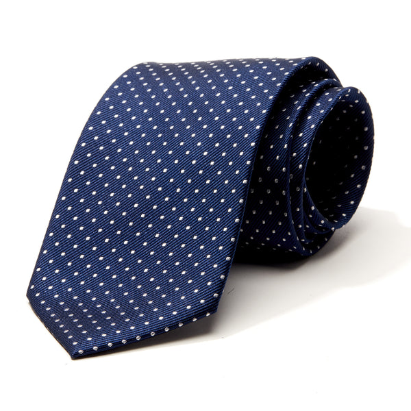 Navy and White Mini Dot Tie