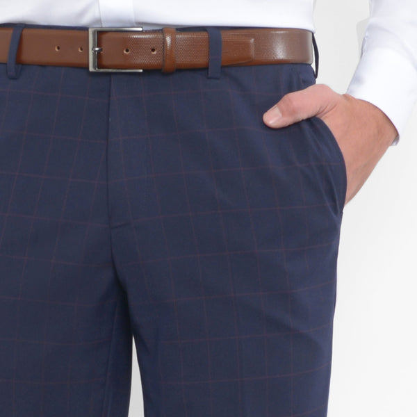Blush on Navy Windowpane Stretch Pants