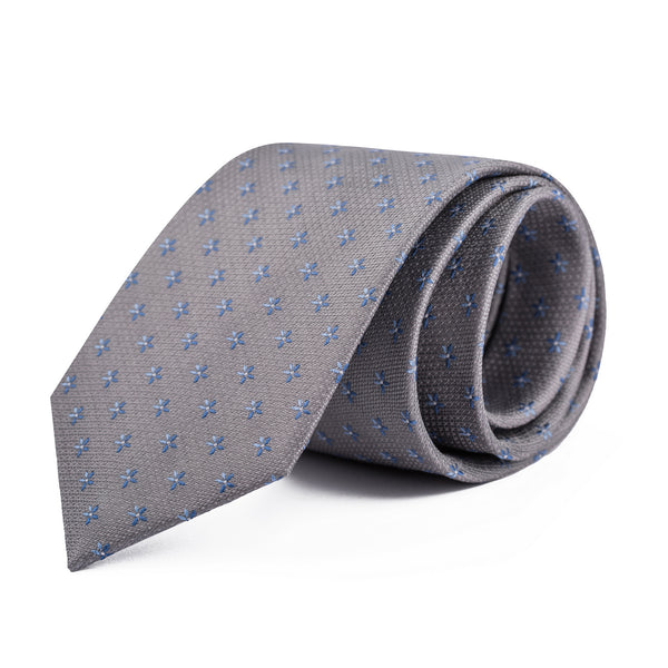 Blue Mini Floral On Steel Tie