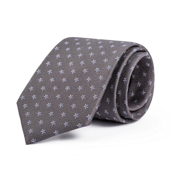 Grey Mini Floral on Steel Tie