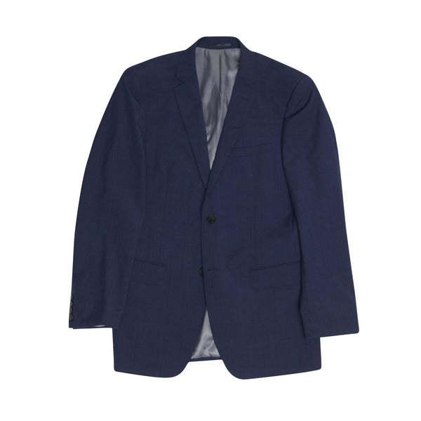Dark Navy Microcheck Slim Fit Suit Jacket