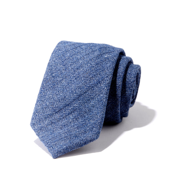 Blue Herringbone Tweed Tie