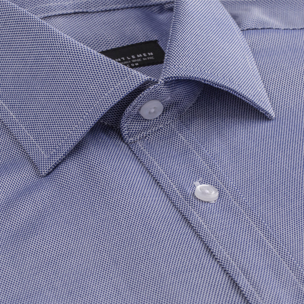 Blue French Oxford Slim Fit Wide Spread Collar Shirt