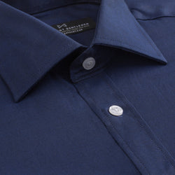 Navy French Oxford Slim Fit Wide Spread Collar Shirt