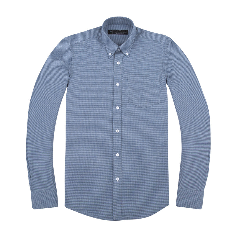 Light Blue Brushed Houndstooth Slim Fit Button-Down Collar Shirt