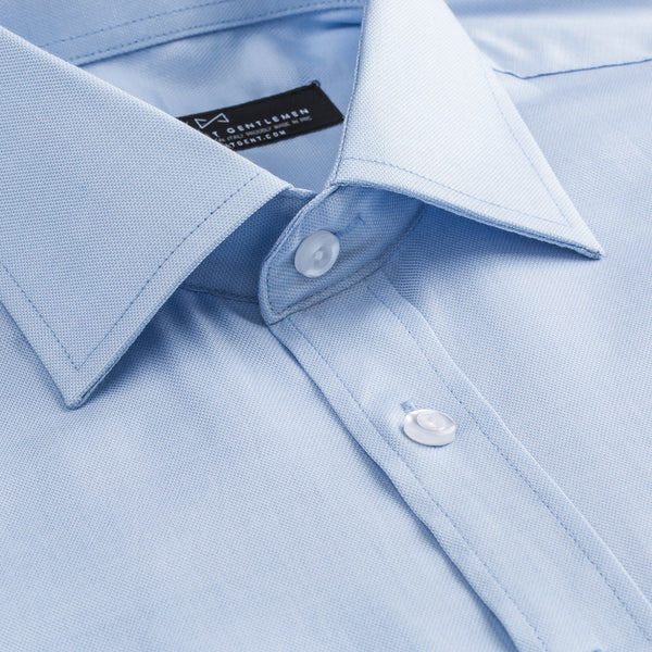 Light Blue Sharkskin Slim Fit Wide Spread Collar Shirt