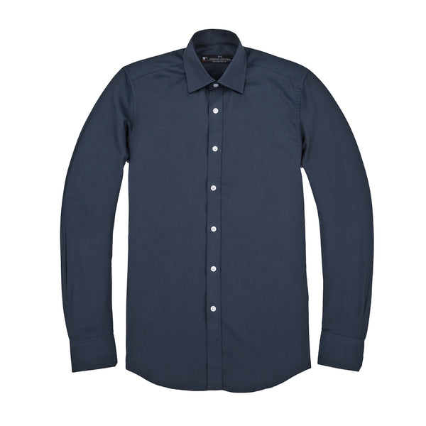 Navy Nailhead Slim Fit Wide Spread Collar Shirt