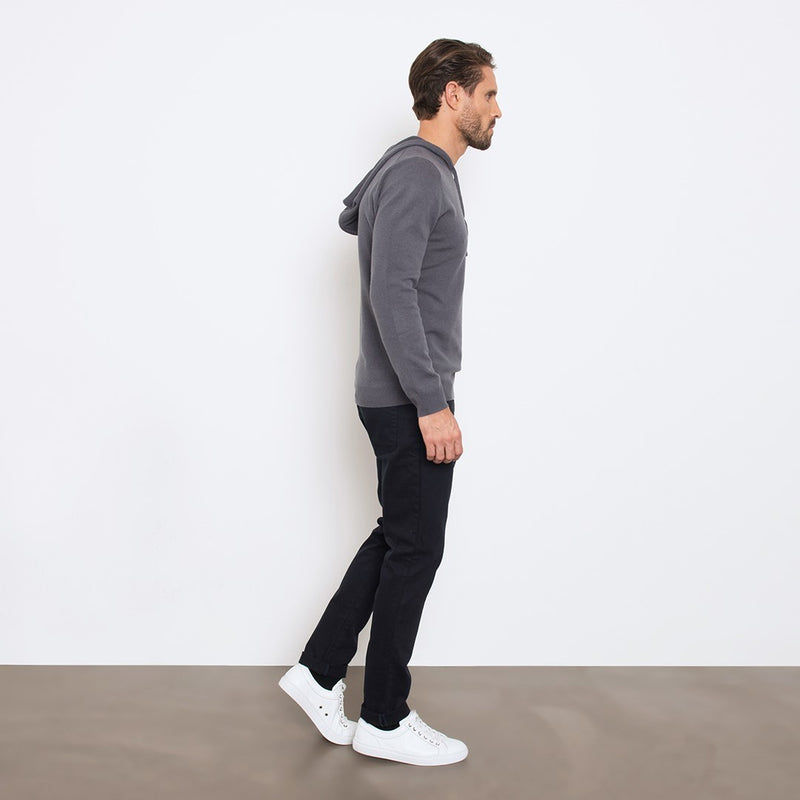 Charcoal Slim Fit Hoodie Knit Sweater