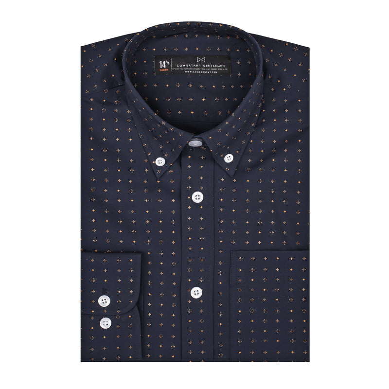 Navy Patterned Stretch Athletic Fit Button-Down Collar Shirt
